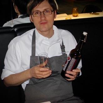 Daniel Achilles with the bottle of Klosterbier Zscheiplitz
