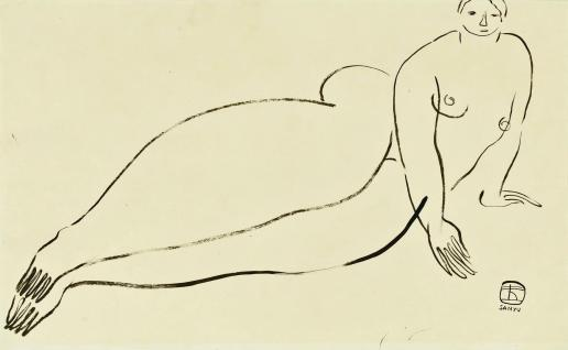 Picture for Features, Sunday Review, Arts. Le French May 2014 Paris - Chinese Painting. ?,ǨaìReclining Nude?,Ǩ¬ù Sanyu [Chang Yu]; 1930s, Ink on paper 26.5 x 42.9 cm, Collection of Mus_¬©e Cernuschi, Asian Arts Museum of Paris. [08JUNE2014 REVIEW ARTS LEAD]